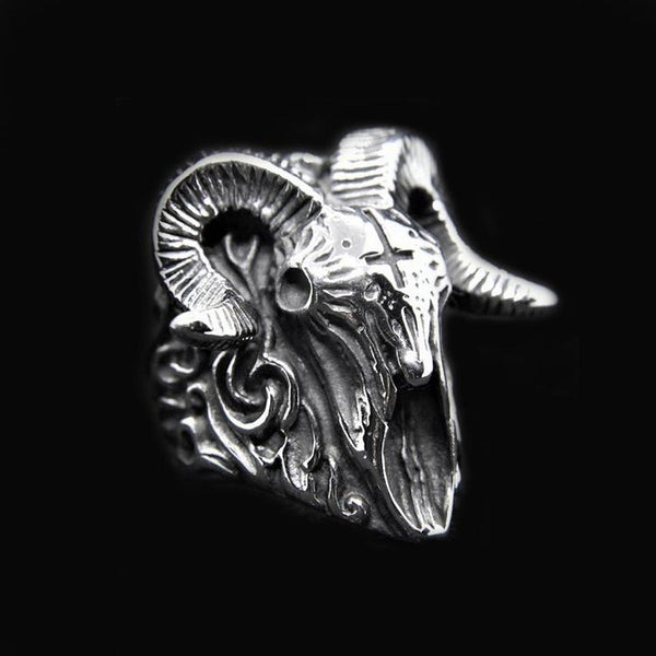 CROSS RAM SKULL RING-Rebelger.com