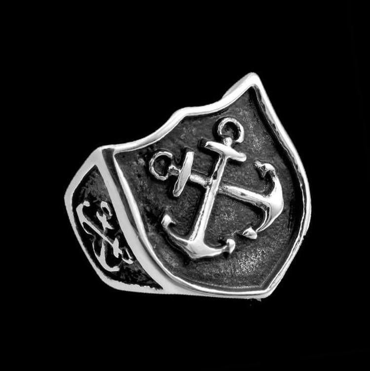 CROSSED ANCHORS SHIELD RING - Rebelger.com