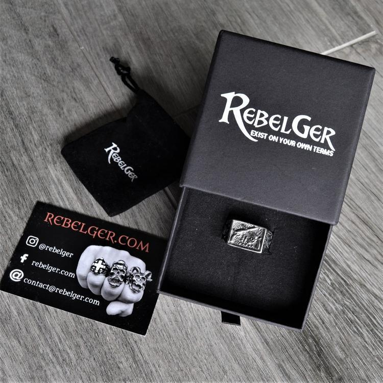 CROSSED GUN RING - Rebelger.com