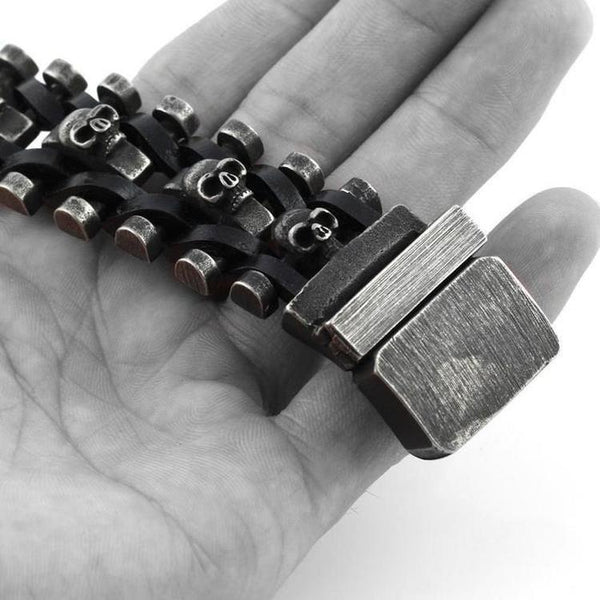 DEATH CHAIN LEATHER AND STEEL SKULL BRACELET-Rebelger.com
