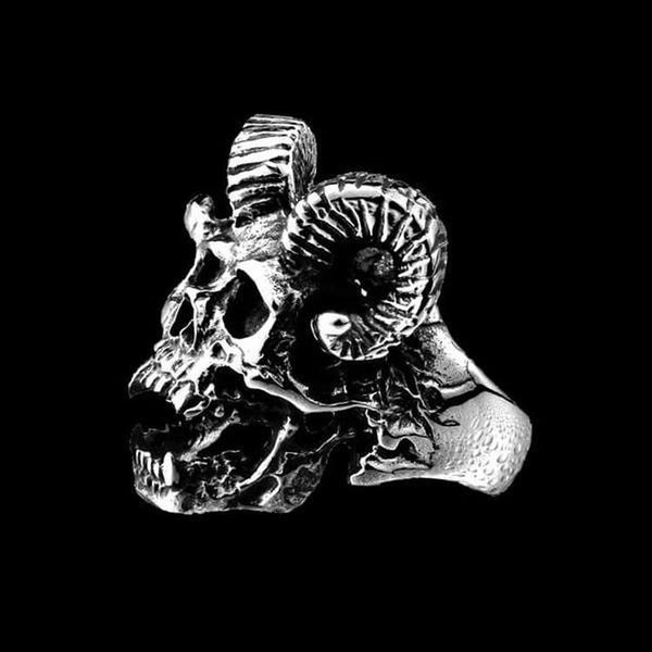 DEVIL GOAT SKULL RING - Rebelger.com