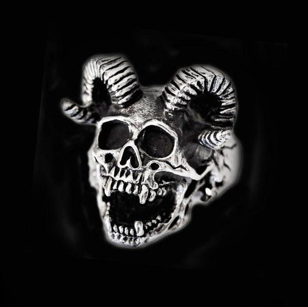 DEVIL GOAT SKULL RING-Rebelger.com