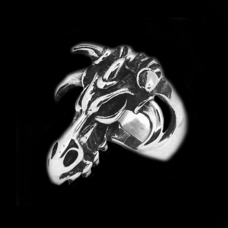 DRAGON SKULL HEAD RING - Rebelger.com