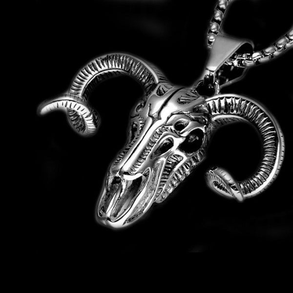 GOAT SKULL HEAD NECKLACE - Rebelger.com