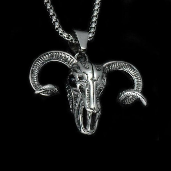 GOAT SKULL HEAD NECKLACE-Rebelger.com