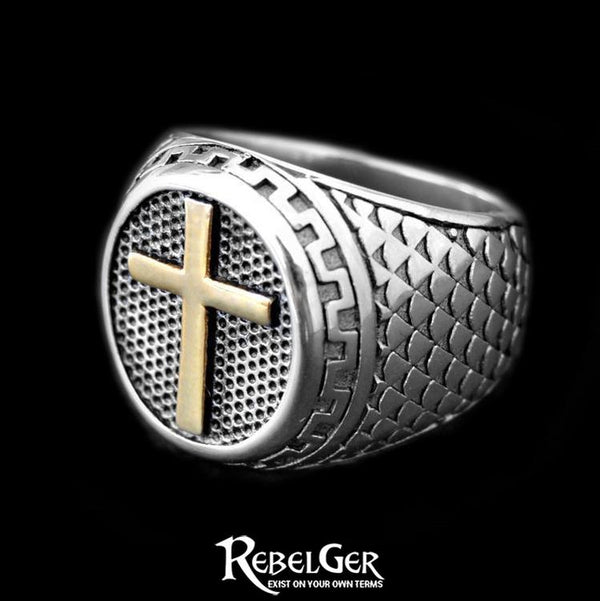 GOLDEN CROSS RING - Rebelger.com