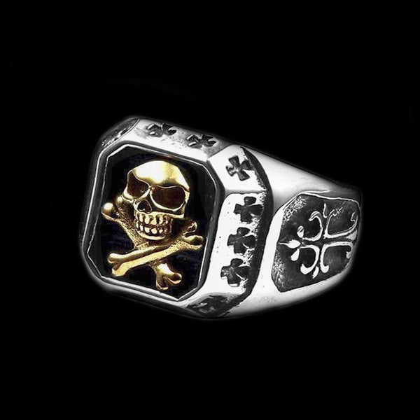 GOLDEN SAINT SKULL RING - Rebelger.com