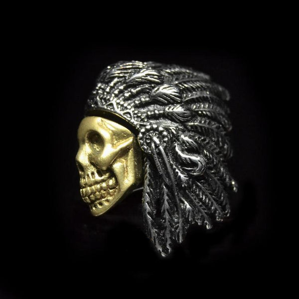 GOLDEN SKULL WARRIOR CHIEF RING - Rebelger.com