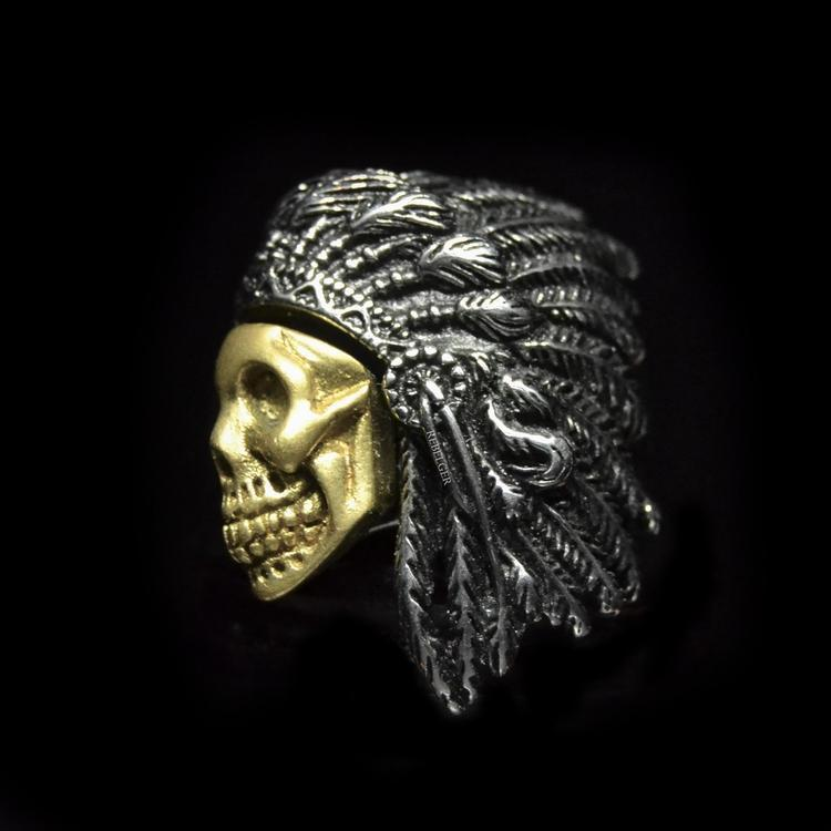 GOLDEN SKULL WARRIOR CHIEF RING-Rebelger.com