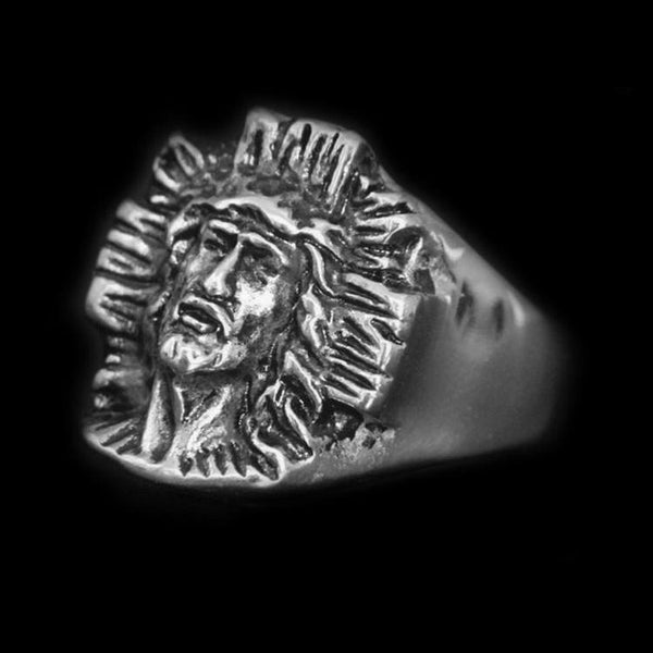 HAND CARVED JESUS RING - Rebelger.com