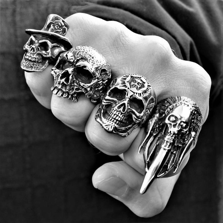 INDIAN SKULL HORN RING - Rebelger.com