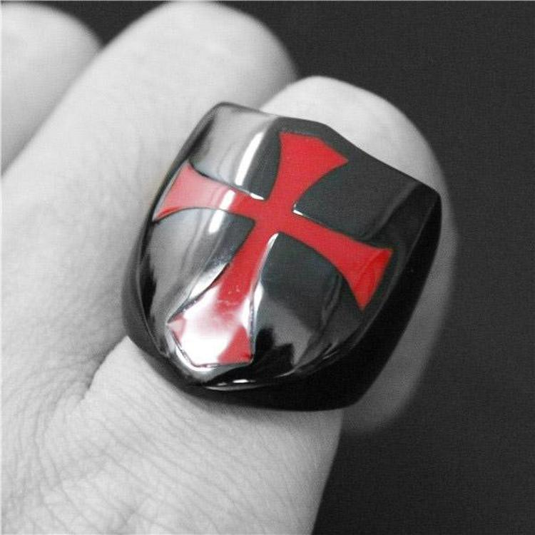 KNIGHTS TEMPLAR SHIELD RING-Rebelger.com