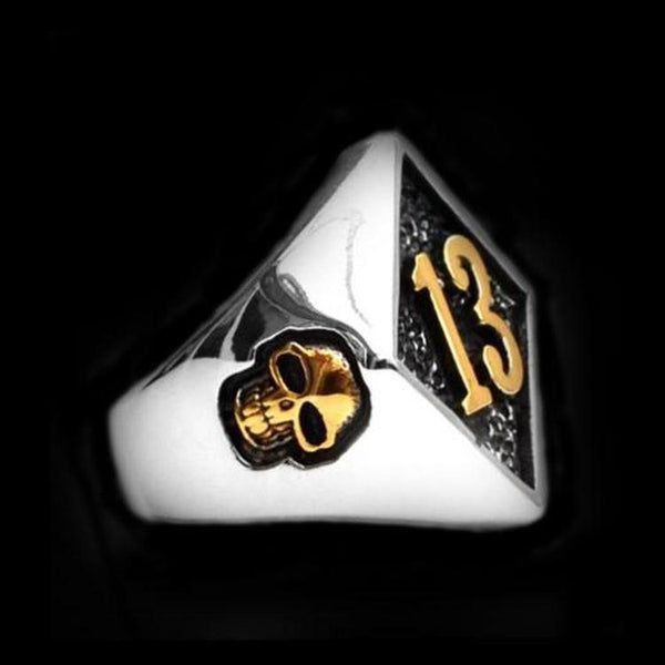 LUCKY 13 GOLD SKULL RING-Rebelger.com