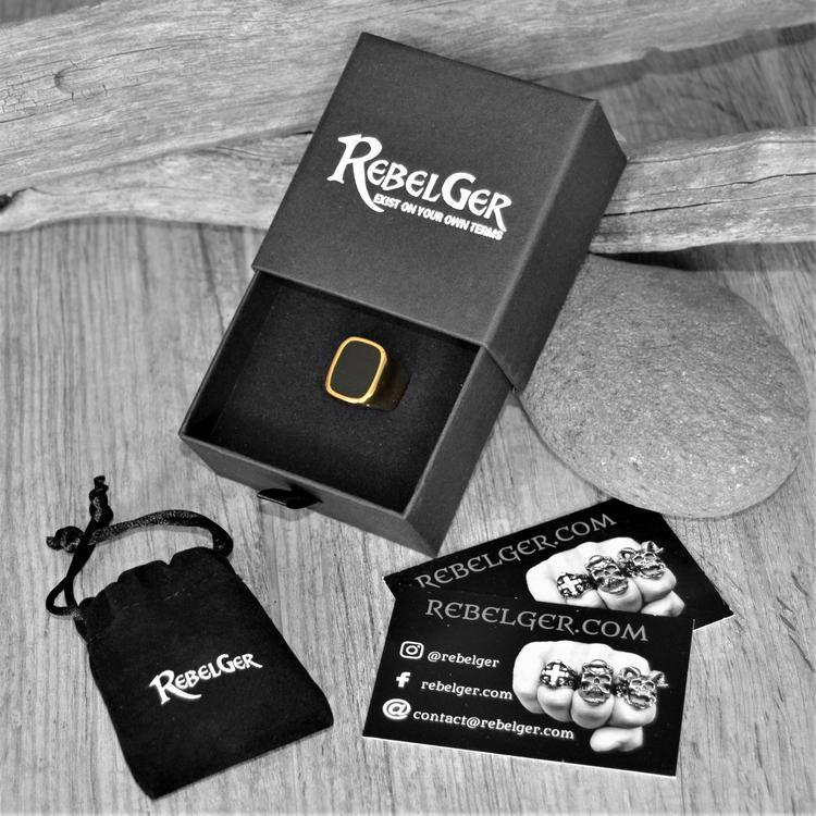 ONYX RING SILVER AND GOLD-Rebelger.com