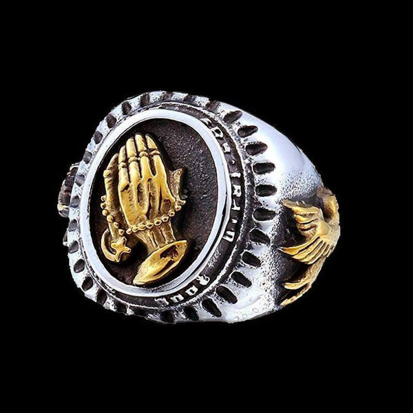 PRAYER HANDS GOLD RING - Rebelger.com