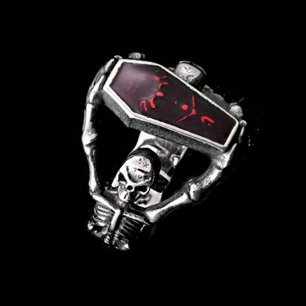 RUBY COFFIN SKULL RING - Rebelger.com