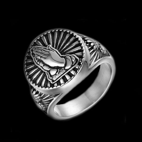 SACRED PRAYER HANDS RING - Rebelger.com