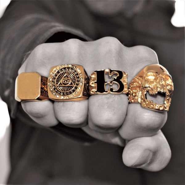 SKULL RIDER GOLD RING - Rebelger.com