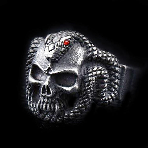 SNAKE BITE SKULL RING-Rebelger.com