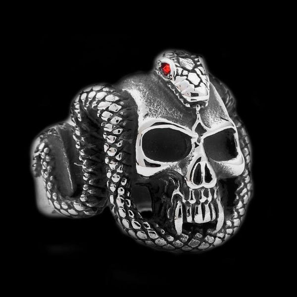 SNAKE BITE SKULL RING - Rebelger.com