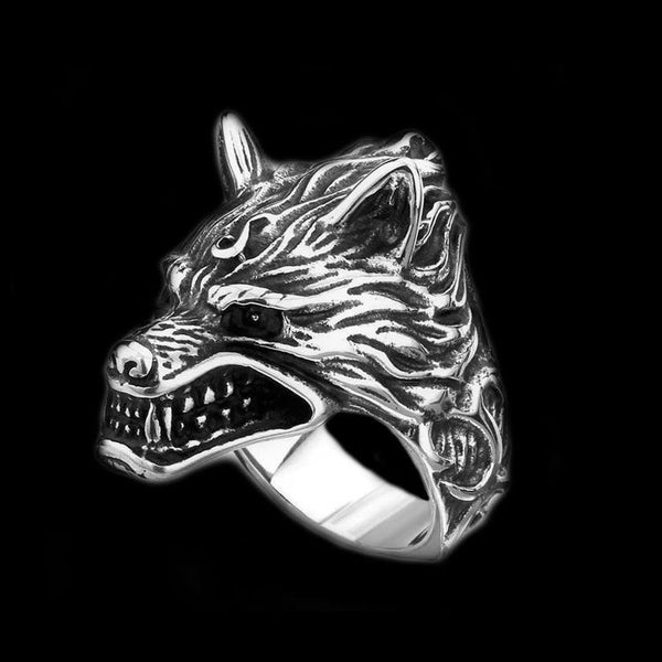 SNARLING WOLF RING - Rebelger.com