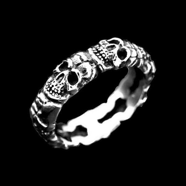 STACKED SKULL HEAD RING - Rebelger.com