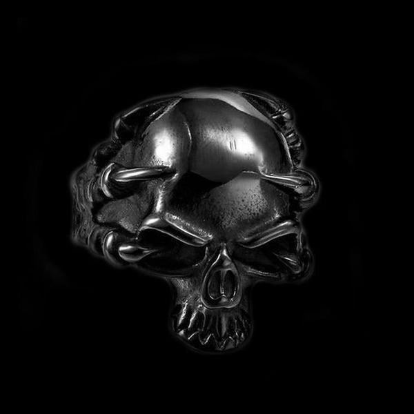 THINKING SKULL BLACK RING - Rebelger.com