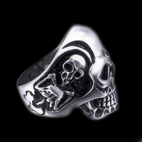 TRIPLE SKULL BIKER RING - Rebelger.com