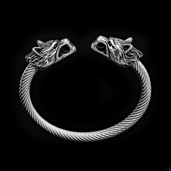 TWISTED WOLF HEAD BRACELET-Rebelger.com