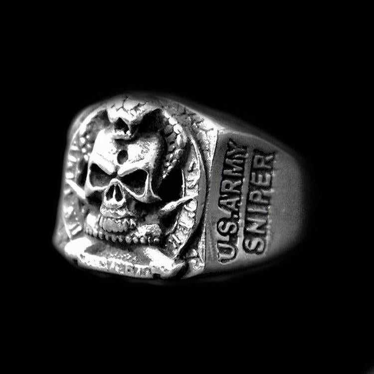 US ARMY SNIPER SKULL RING - Rebelger.com