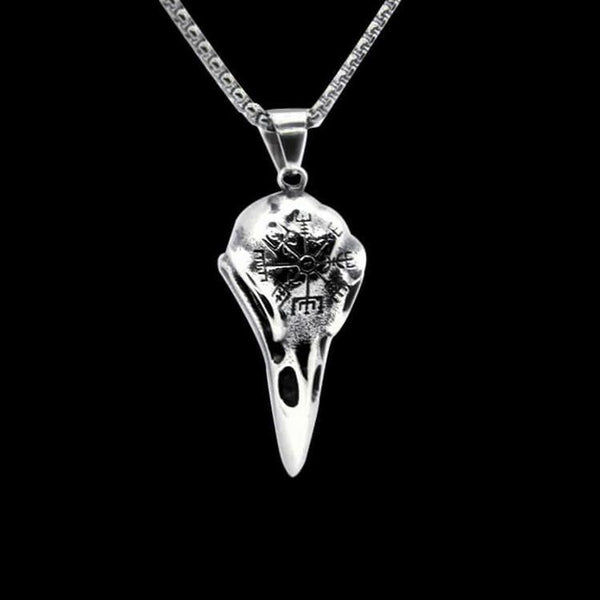 VINTAGE RAVEN SKULL NECKLACE-Rebelger.com