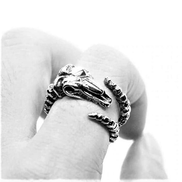 WRAPPED HORNS GOAT SKULL RING-Rebelger.com