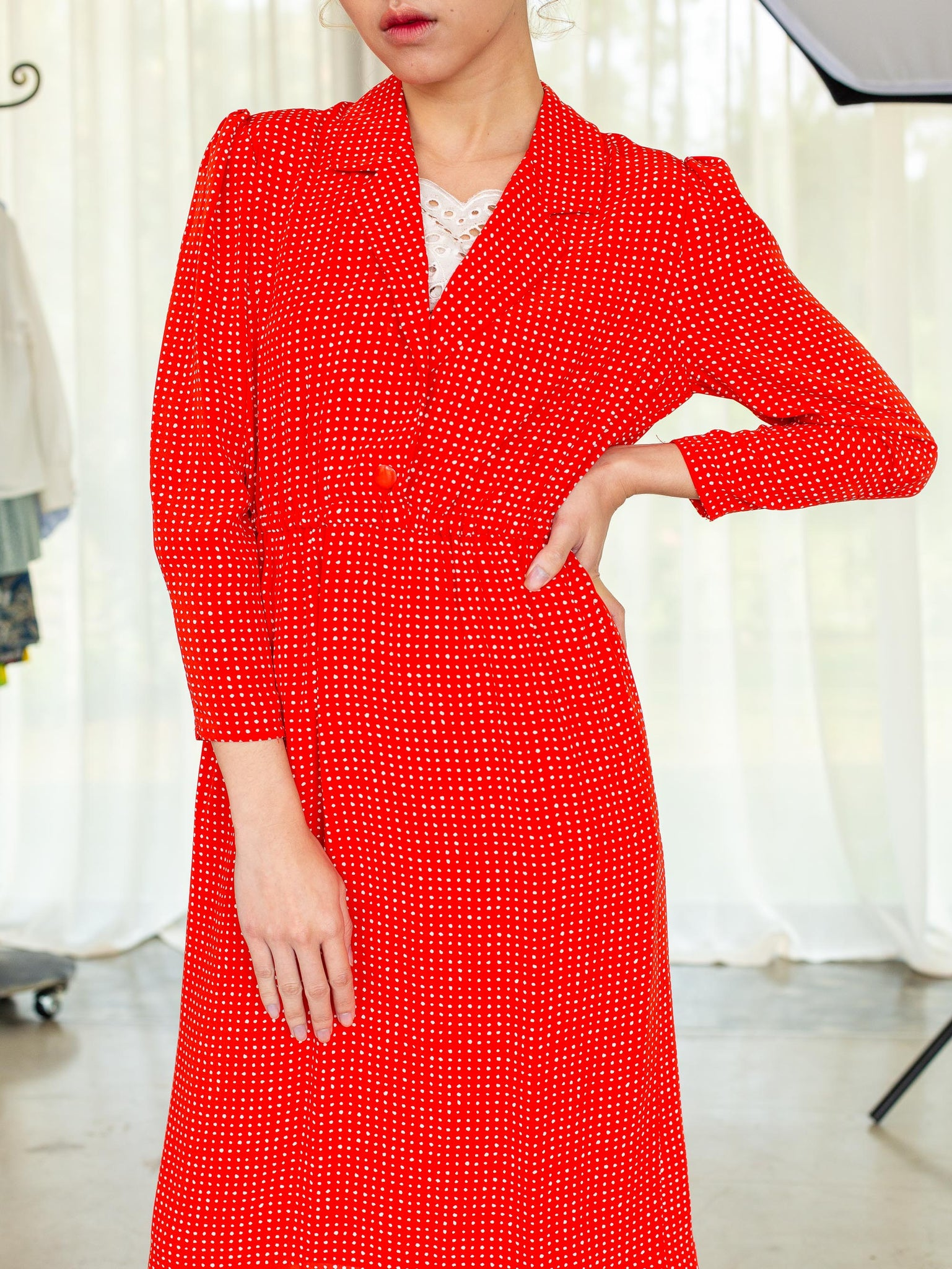 Vintage 80s Red polka dots long sleeve chiffon Japanese vintage dress