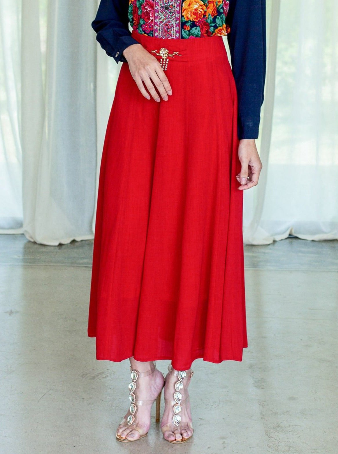 Vintage 80s Chiffon red vintage evening skirt