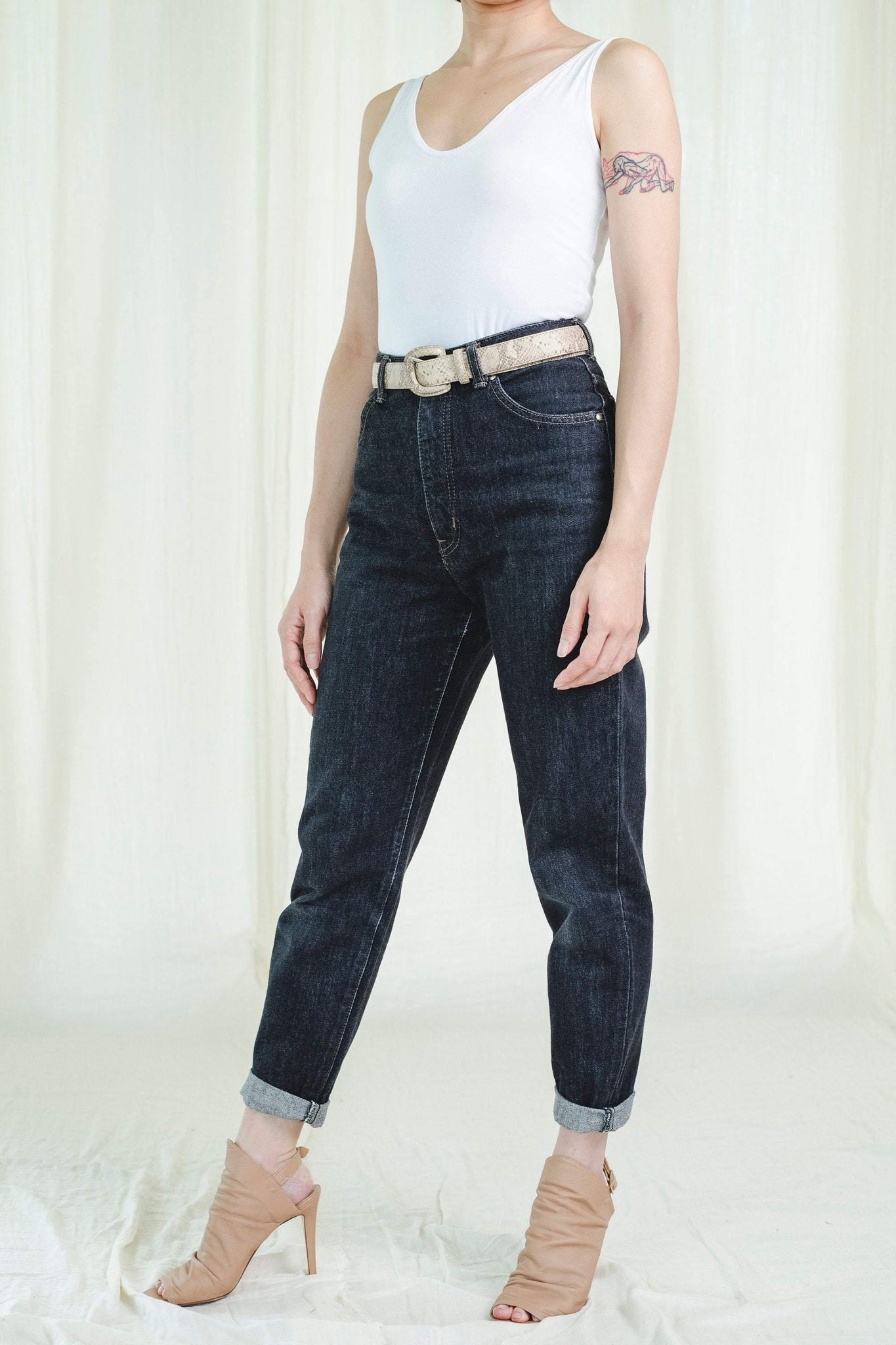 Jeans | Mid-rise Black colour | Vintage 1980s - Sugar & Cream Vintage