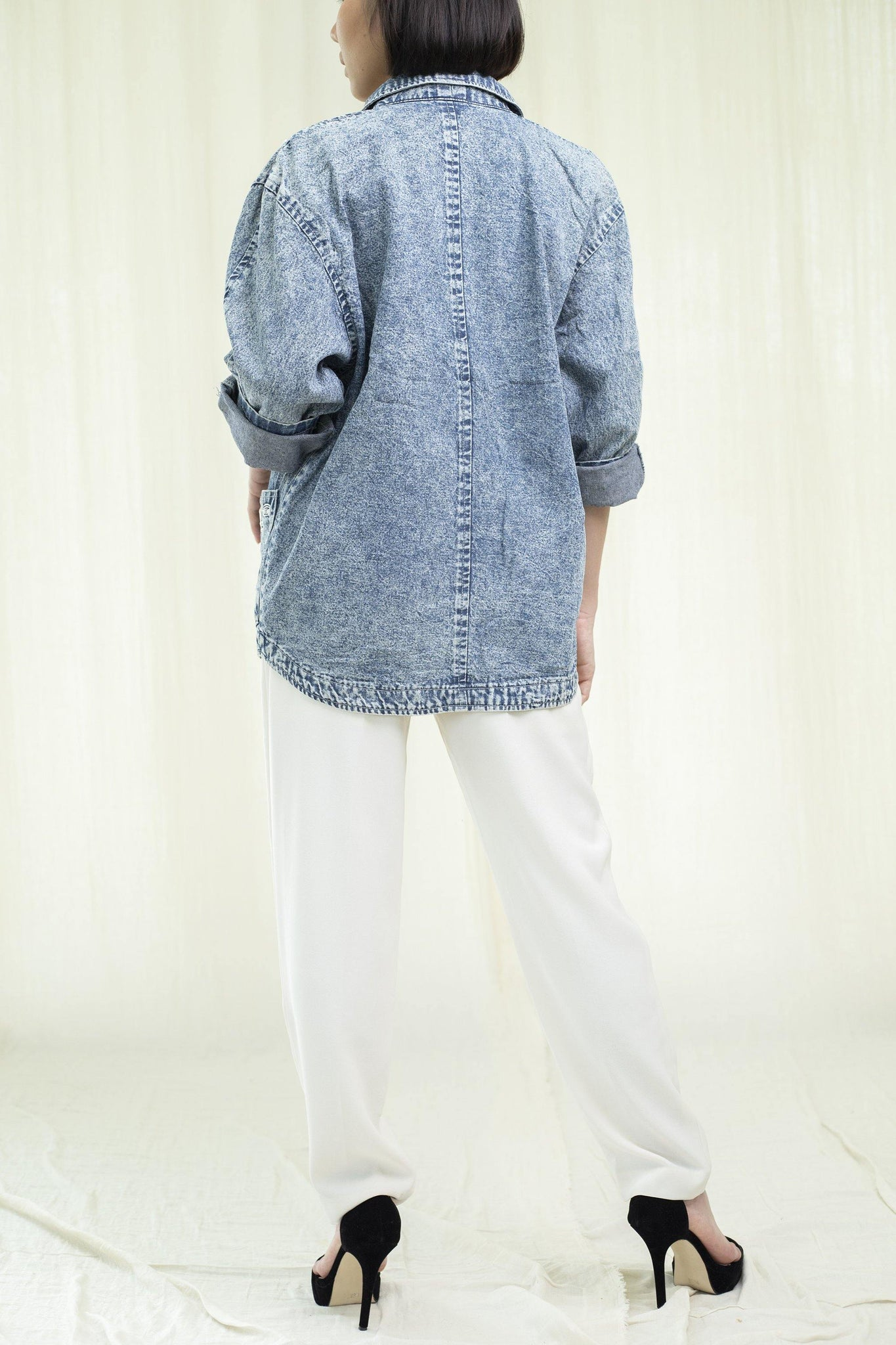 Maxi denim jacket | White embroidery | Vintage 1980s - Sugar & Cream Vintage