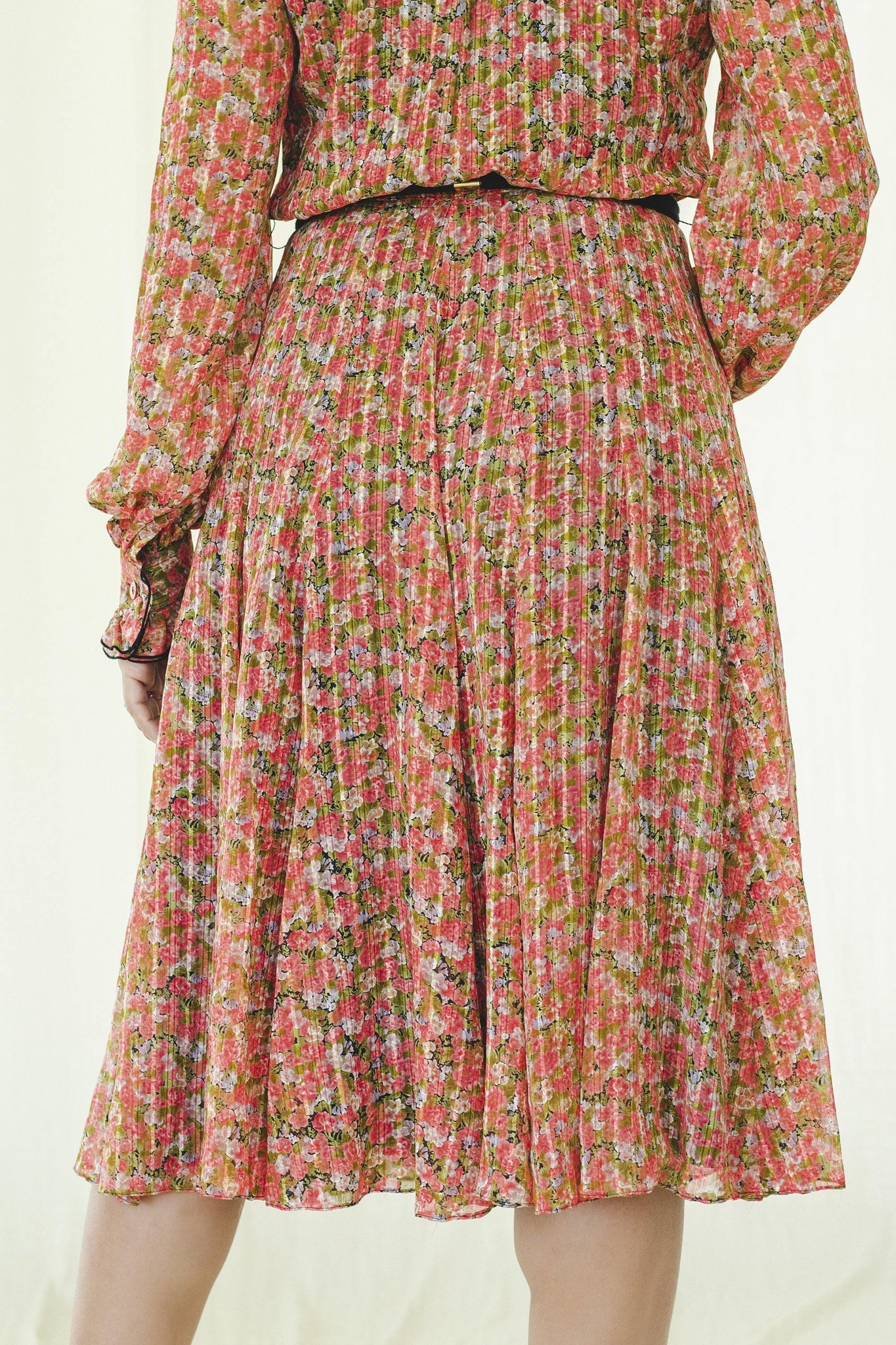 1980s Japanese vintage ruffle neck chiffon dress with red and peach floral print - Sugar & Cream Vintage