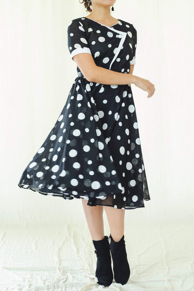 Vintage midi dress. Black and white large polka dots - Sugar & Cream Vintage