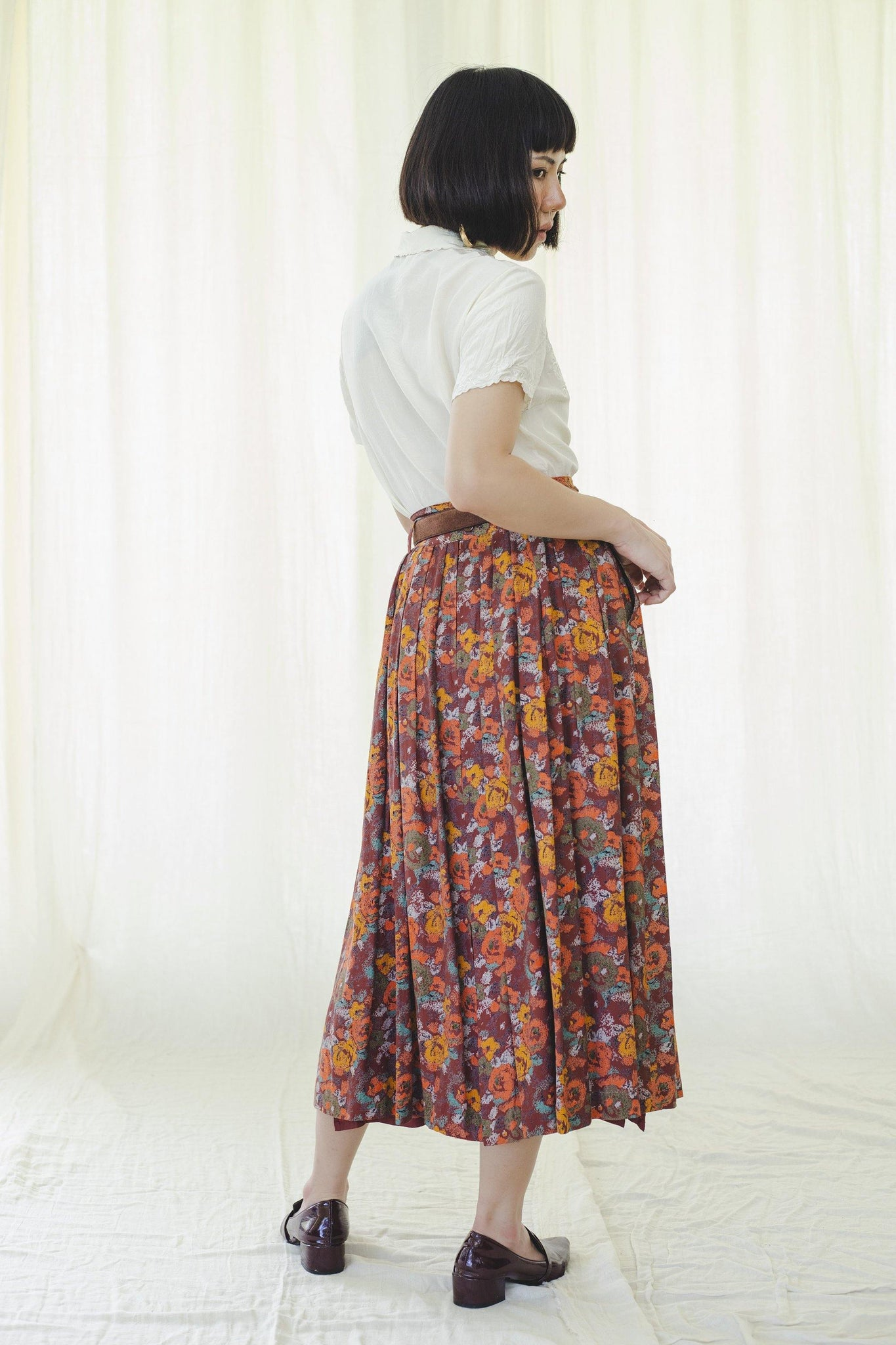 Skirt | Pleated long midi | Vintage 1980s - Sugar & Cream Vintage