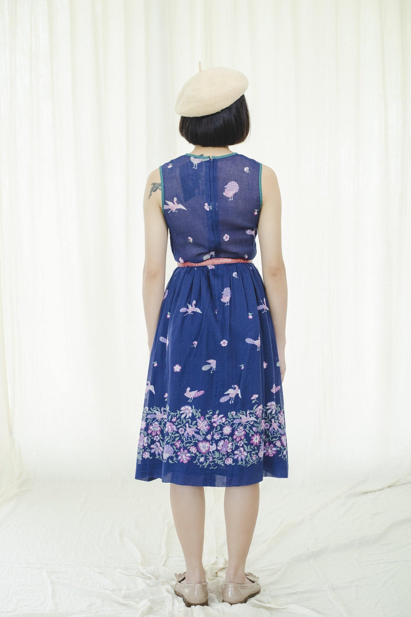 1980s Japanese vintage short sleeve peacock and flower garden midi dress. - Sugar & Cream Vintage