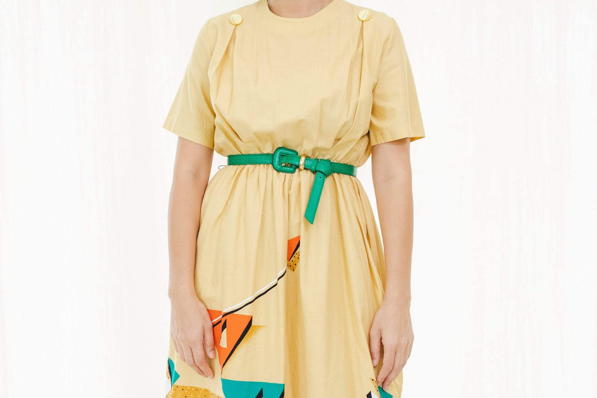 80's Japanese vintage dress in yellow - Sugar & Cream Vintage