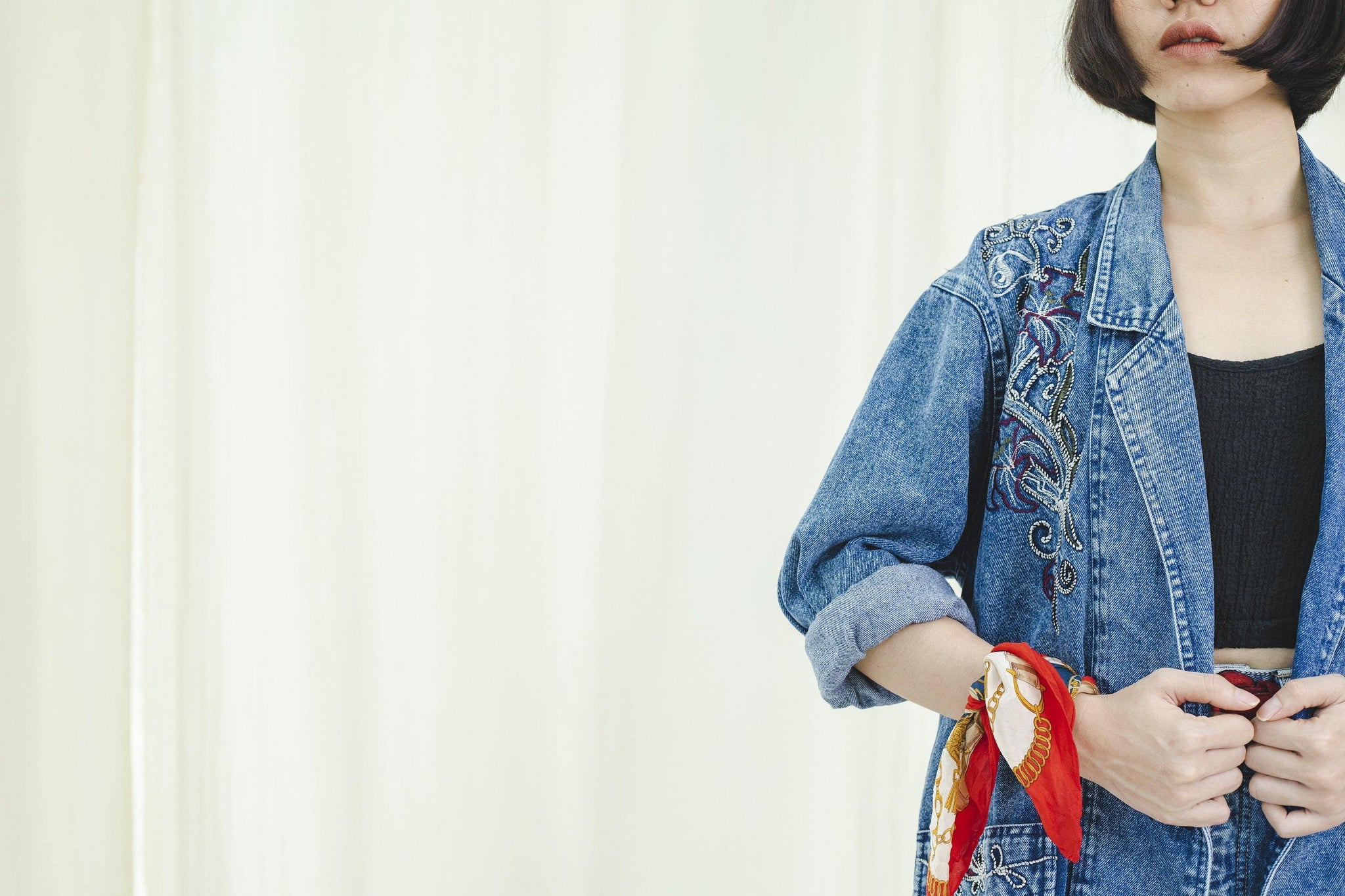 Oversized Jacket | Denim embroidered | Vintage 1980s - Sugar & Cream Vintage