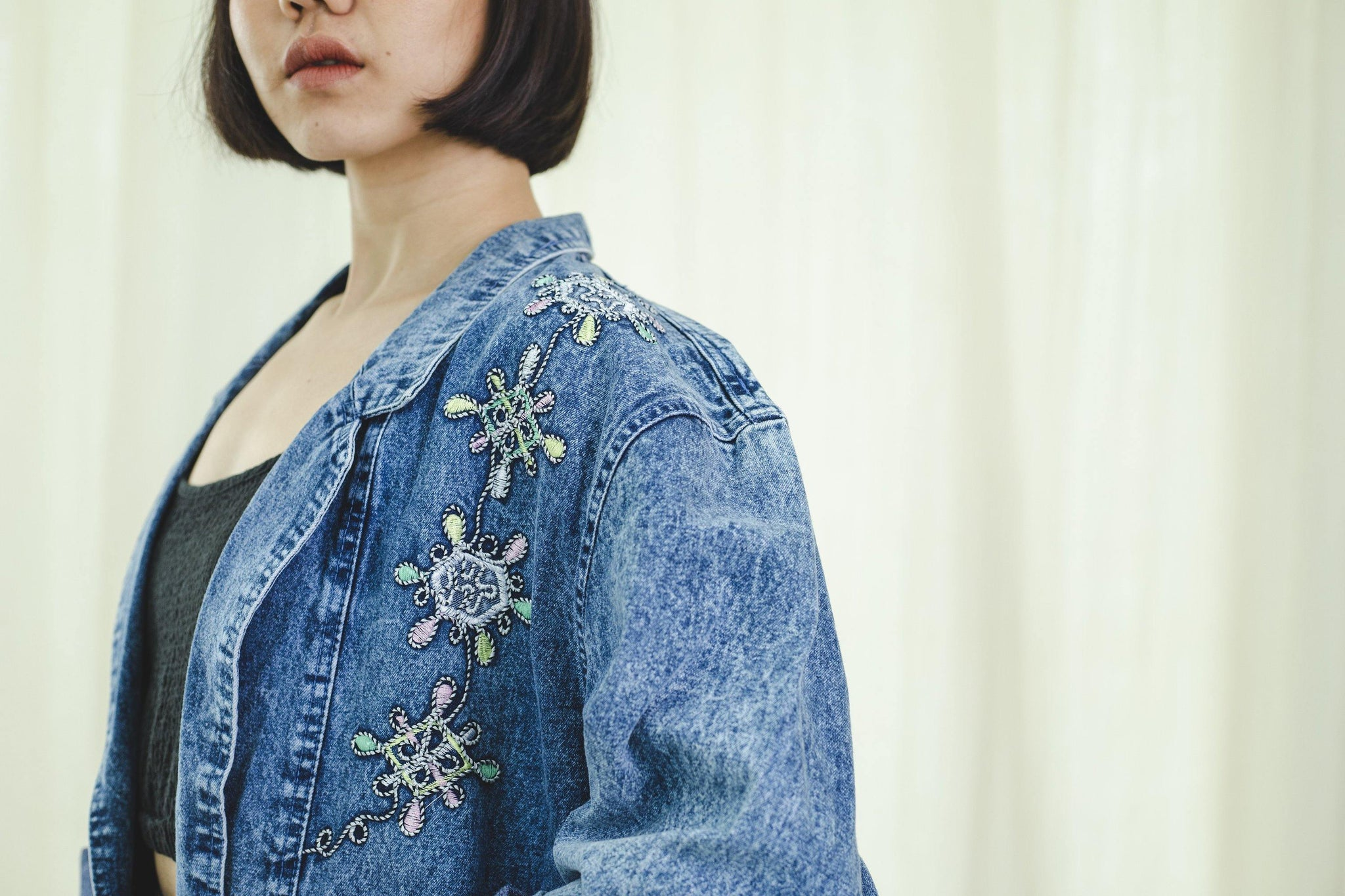 Maxi jacket | Denim embroidered | Vintage 1980s - Sugar & Cream Vintage
