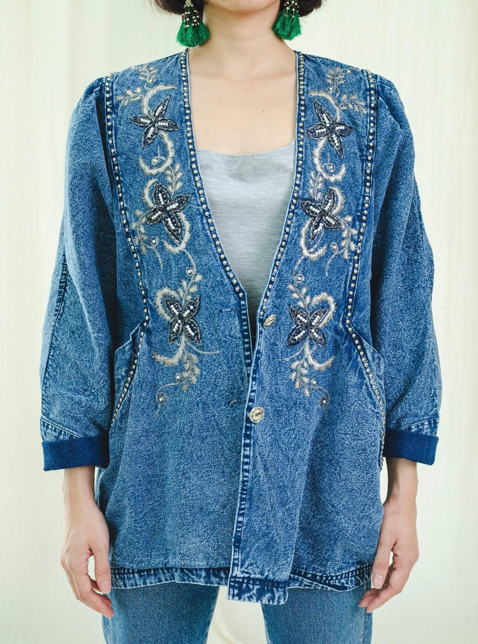 Jacket | Embroidered denim | Vintage 1980s - Sugar & Cream Vintage