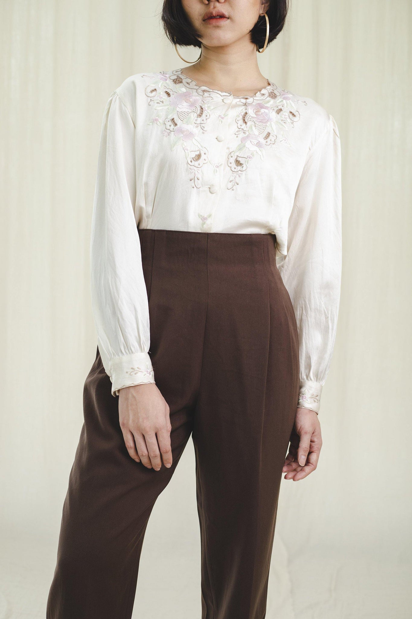 High-waisted vintage trousers in brown - Sugar & Cream Vintage