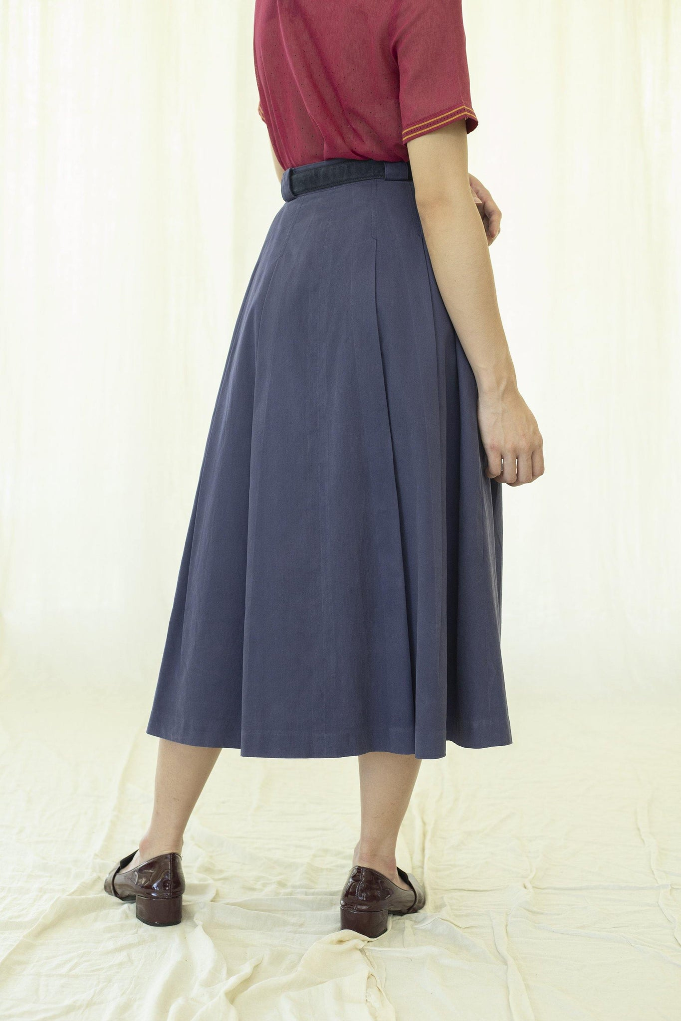 Skirt l Navy blue vintage cotton skirt - Sugar & Cream Vintage