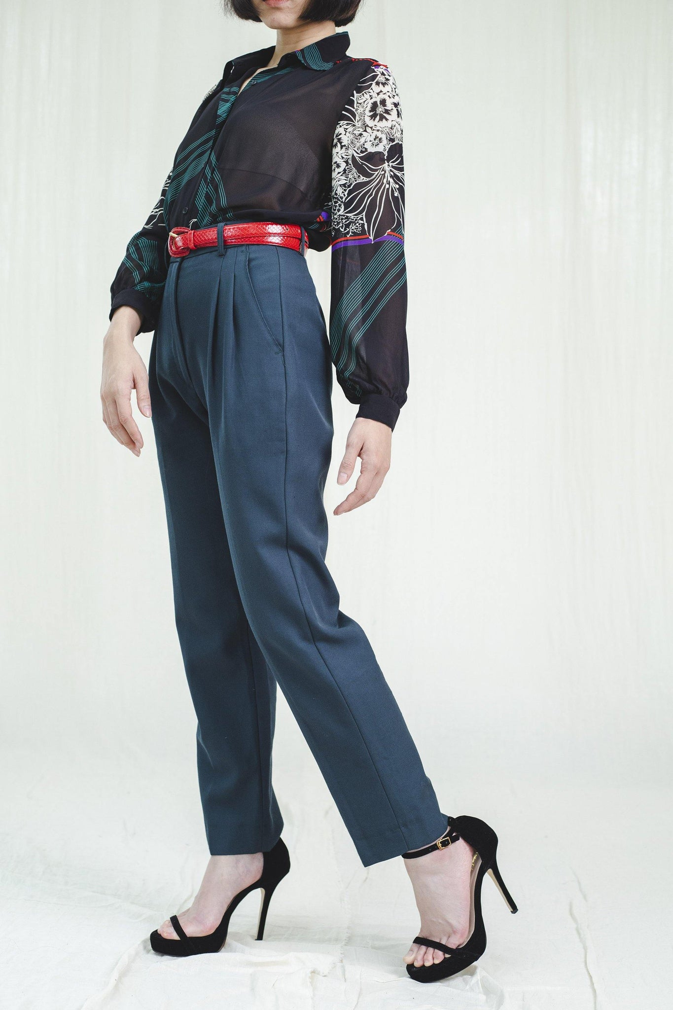 Deep green 80's vintage trousers - Sugar & Cream Vintage