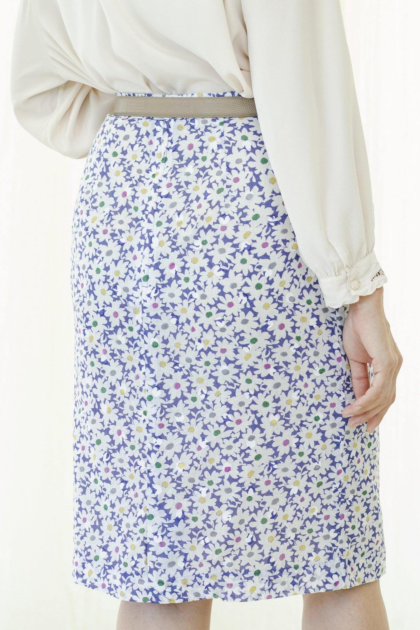 Colorful floral pattern cotton skirt - Sugar & Cream Vintage