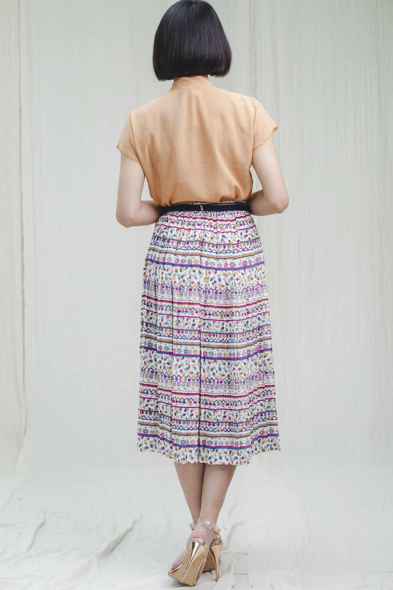 Skirt l Colorful cotton vintage skirt - Sugar & Cream Vintage