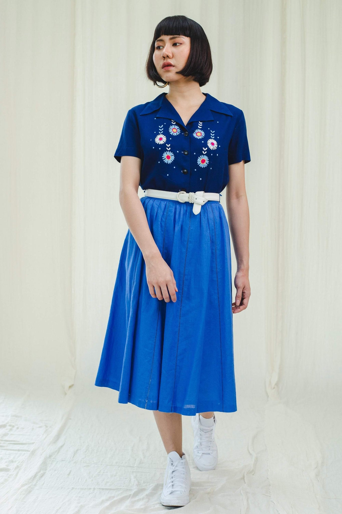 Skirt l 80's cotton skirt in blue - Sugar & Cream Vintage